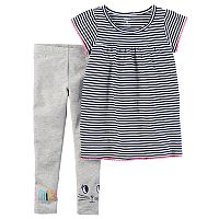 Toddler Girl Carter's Striped Top & Kitty Cat Leggings Set