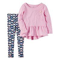 Toddler Girl Carter's Peplum Top & Butterfly Leggings Set