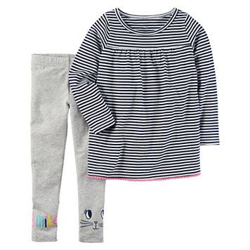 Toddler Girl Carter's Striped Tunic & Graphic Leggings Set