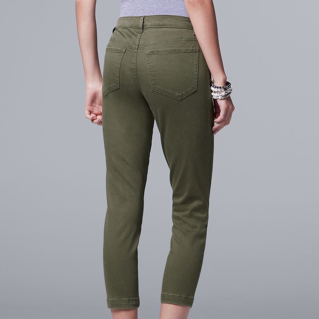 Women's Simply Vera Vera Wang Crop Zipper Accent Pants