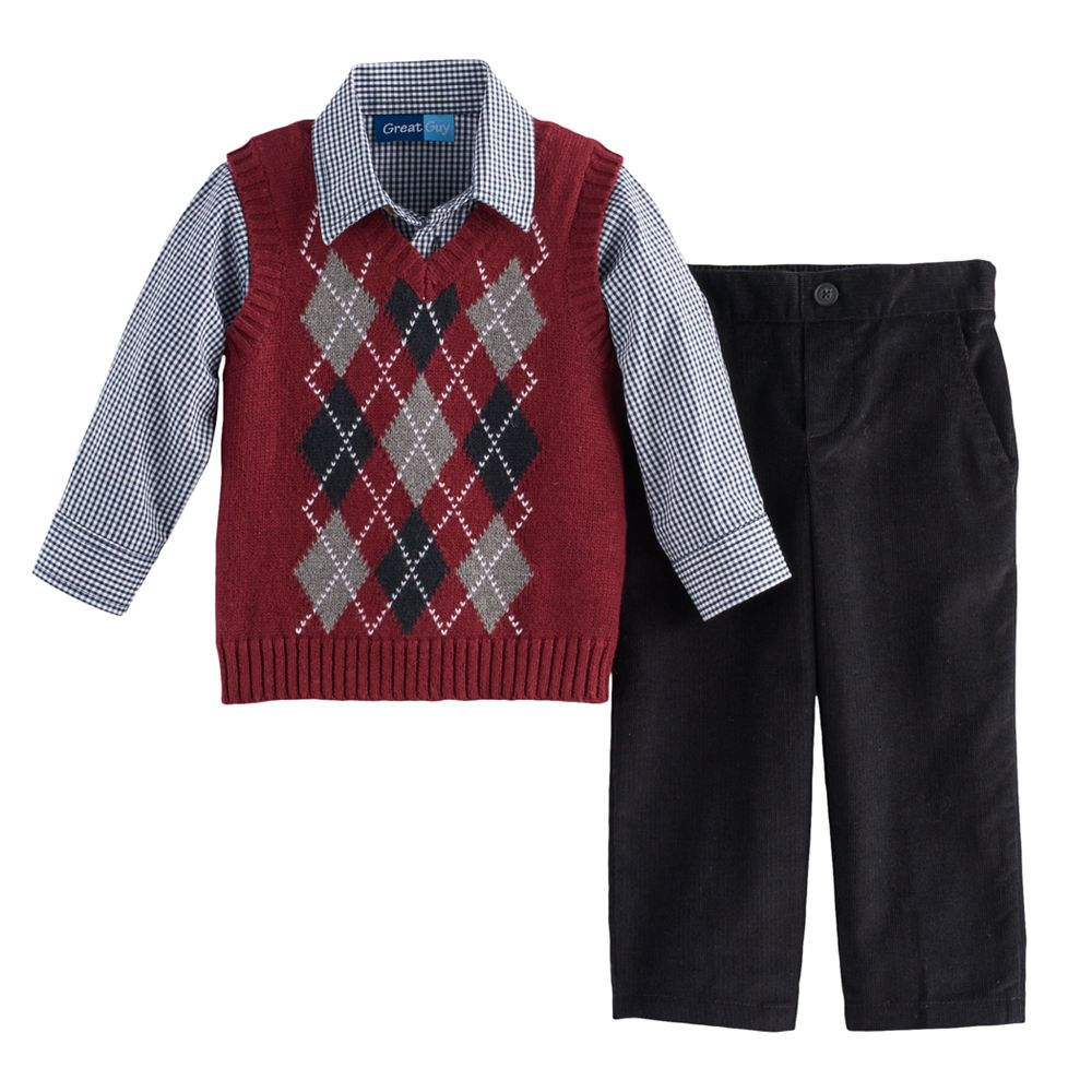 Boy Great Guy Argyle Sweater Vest, Shirt & Pants Set
