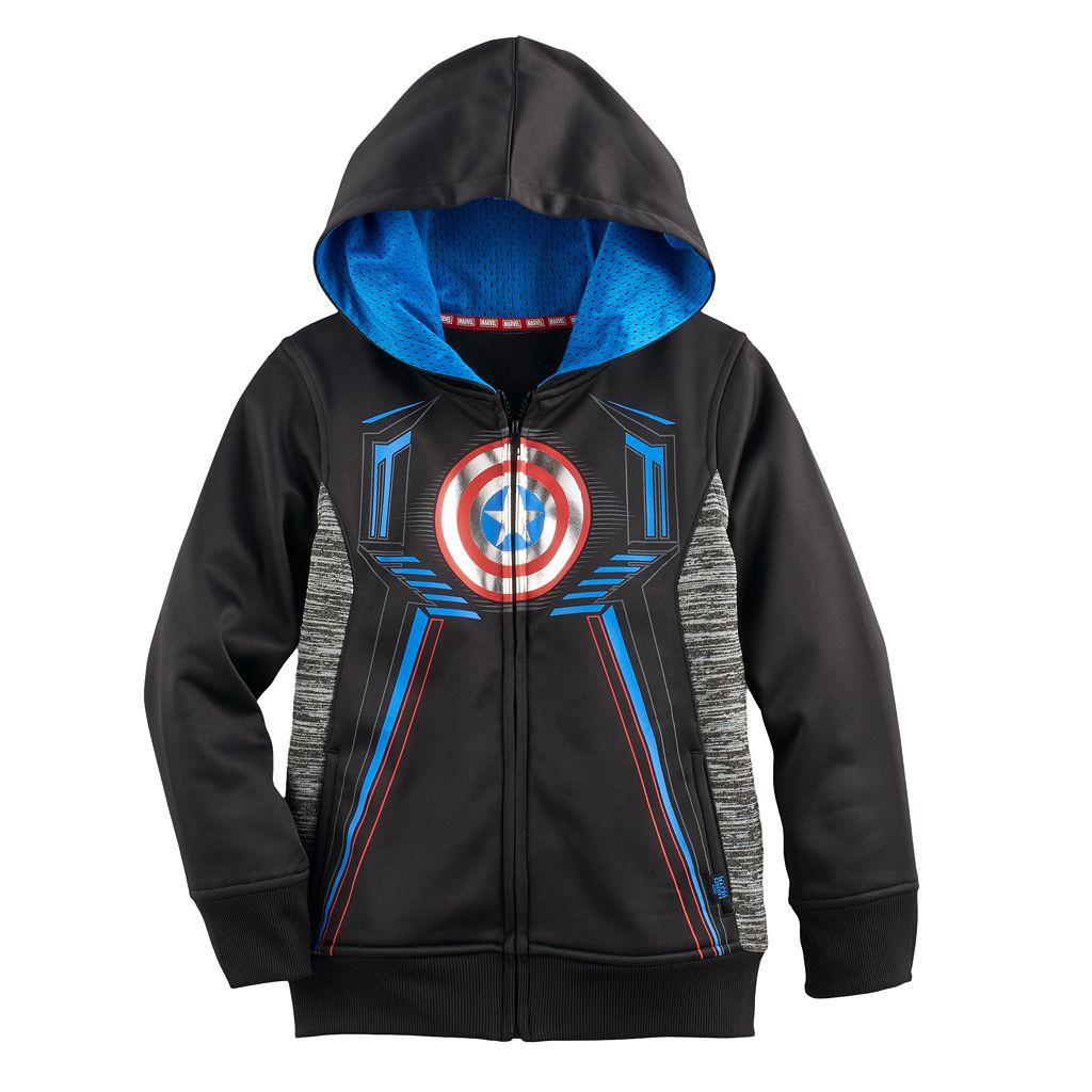 Boys 4-7x Marvel Hero Elite Series Captain America Collection for Kohl's Shield Active Zip Hoodie