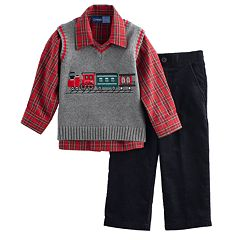 Baby Boy Great Guy Embroidered Train Vest, Plaid Shirt & Corduroy Pants Set