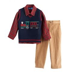 Toddler Boy Great Guy Embroidered Train Navy  Vest, Plaid Shirt & Corduroy Pants Set