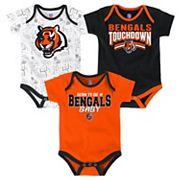 Baby Cincinnati Bengals Playmaker 3-Pack Bodysuit Set