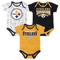 Baby Pittsburgh Steelers Playmaker 3-Pack Bodysuit Set