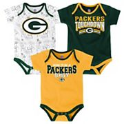 Baby Green Bay Packers Playmaker 3-Pack Bodysuit Set