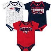 Baby New EnglandPatriots Playmaker 3-Pack Bodysuit Set