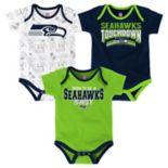 Baby Seattle Seahawks Playmaker 3-Pack Bodysuit Set