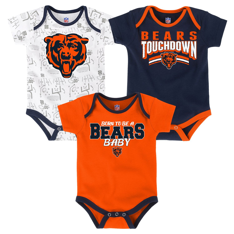 Chicago Bears Playmaker 3-Pack Bodysuit Set