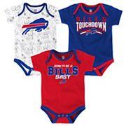 Baby Buffalo Bills Playmaker 3-Pack Bodysuit Set