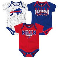 Baby Buffalo Bills Playmaker 3-Pack Bodysuit Set