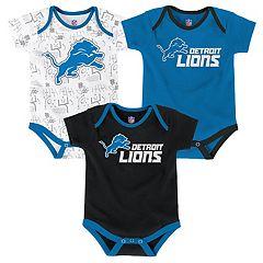 Baby Detroit Lions Playmaker 3-Pack Bodysuit Set