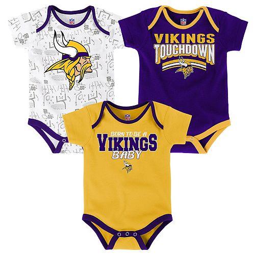 info for 46ead 58277 Baby Minnesota Vikings Playmaker 3-Pack Bodysuit Set
