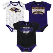 Baby Baltimore Ravens Playmaker 3-Pack Bodysuit Set