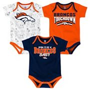 Baby Denver Broncos Playmaker 3-Pack Bodysuit Set