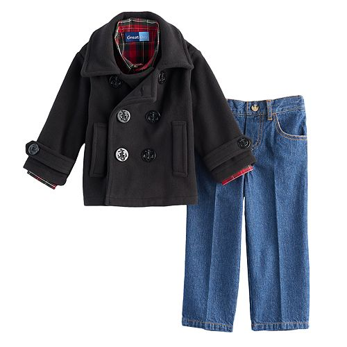 Toddler Boy Great Guy Peacoat, Plaid Shirt & Jeans Set