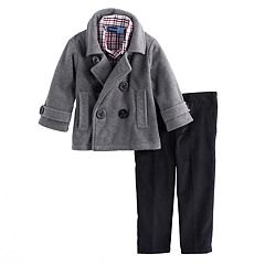 Toddler Boy Great Guy Fleece Peacoat Jacket, Shirt & Pants Set