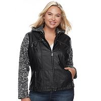 Juniors' Plus Size J-2 Knit Sleeve Faux-Leather Jacket