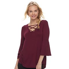 Juniors' Pink Rose Strappy Bell Sleeve Top