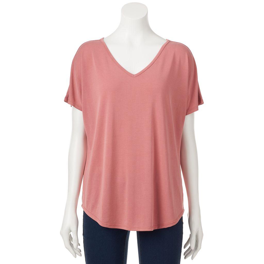 Juniors' Pink Rose Cupro Short Sleeve Tee