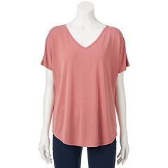 Juniors' Pink Rose Cupro Short Sleeve Tee