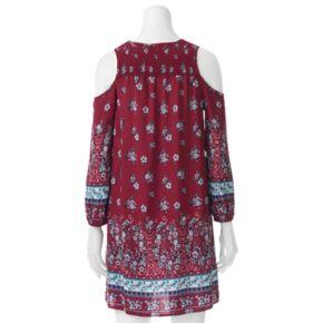 Juniors' Almost Famous Floral Cold-Shoulder Peasant Dress