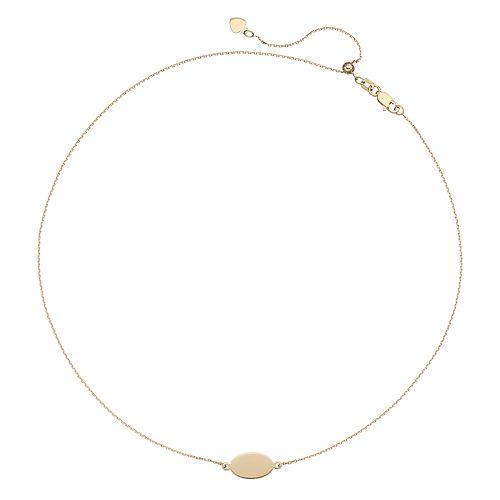 14k Gold Oval Plate Choker Necklace