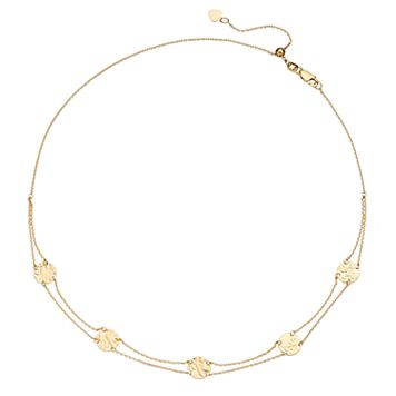 14k Gold Hammered Disc Choker Necklace