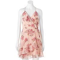 Juniors' Almost Famous Ruffle Floral Faux-Wrap Dress
