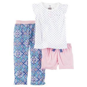 Girls 4-14 Carter's Polka-Dot Tee, Shorts & Patterned Bottoms Pajama Set