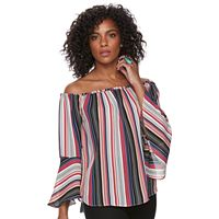 Women's Harve Benard Striped Off-the-Shoulder Top