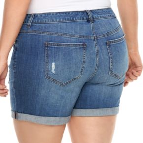 Plus Size Jennifer Lopez Boyfriend Jean Shorts