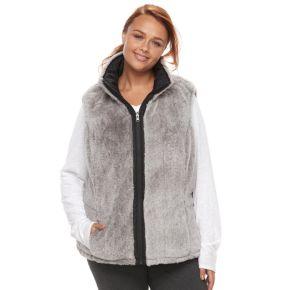 Plus Size KC Collections Reversible Faux-Fur Vest