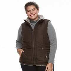 Plus Size KC Collections Reversible Faux-Fur Vest
