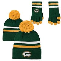 Boys 8-20 Green Bay Packers Beanie & Gloves Set