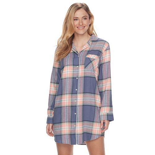 e4b6498bc3fe Women s SONOMA Goods for Life™ Pajamas  Button Down Flannel Sleep Shirt