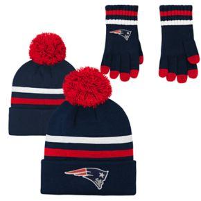 Boys 8-20 New EnglandPatriots Beanie & Gloves Set