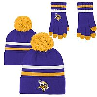 Boys 8-20 Minnesota Vikings Beanie & Gloves Set
