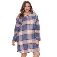 Plus Size SONOMA Goods for Life™ Pajamas: Button Down Flannel Sleep Shirt