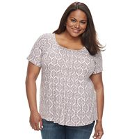 Plus Size Croft & Barrow® Pleated Scoopneck Tee