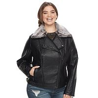 Juniors' Plus Size J2 Faux-Leather Hooded Moto Jacket