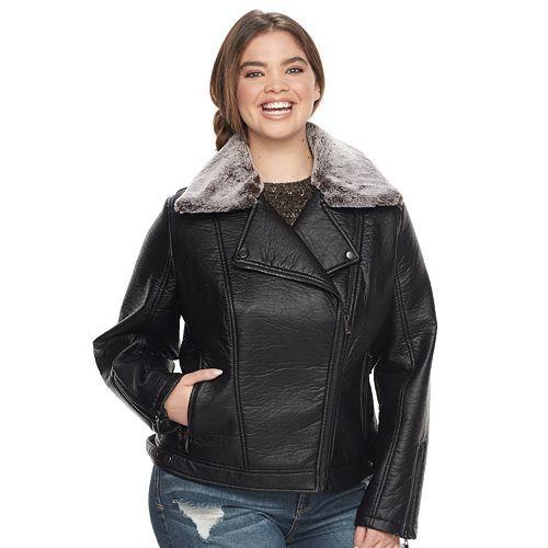 87b8aee7e3ed3 Juniors  Plus Size J-2 Faux-Leather Hooded Moto Jacket