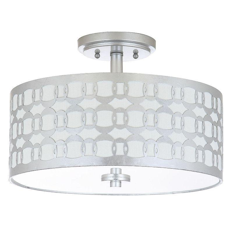 Safavieh Cedar Semi-Flush Mount Geometric Ceiling Lamp. Silver