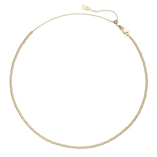 14k Gold Beaded Choker Necklace