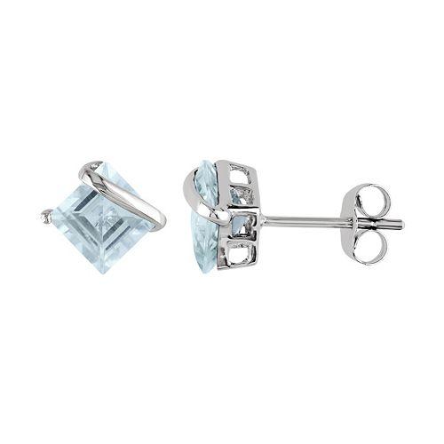 Stella Grace 10k White Gold Aquamarine Square Stud Earrings