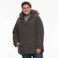 Plus Size KC Collections Hooded Faux-Fur Trim Microfiber Jacket