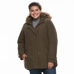 Plus Size KC Collections Hooded Faux-Fur Trim Microfiber Jacket