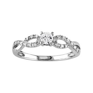 Stella Grace 10k White Gold Lab-Created White Sapphire & 1/10 Carat T.W. Diamond Swirl Ring
