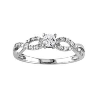 Stella Grace 10k White Gold Lab-Created White Sapphire & 1/10 Carat T.W. Diamond Swirl Ring
